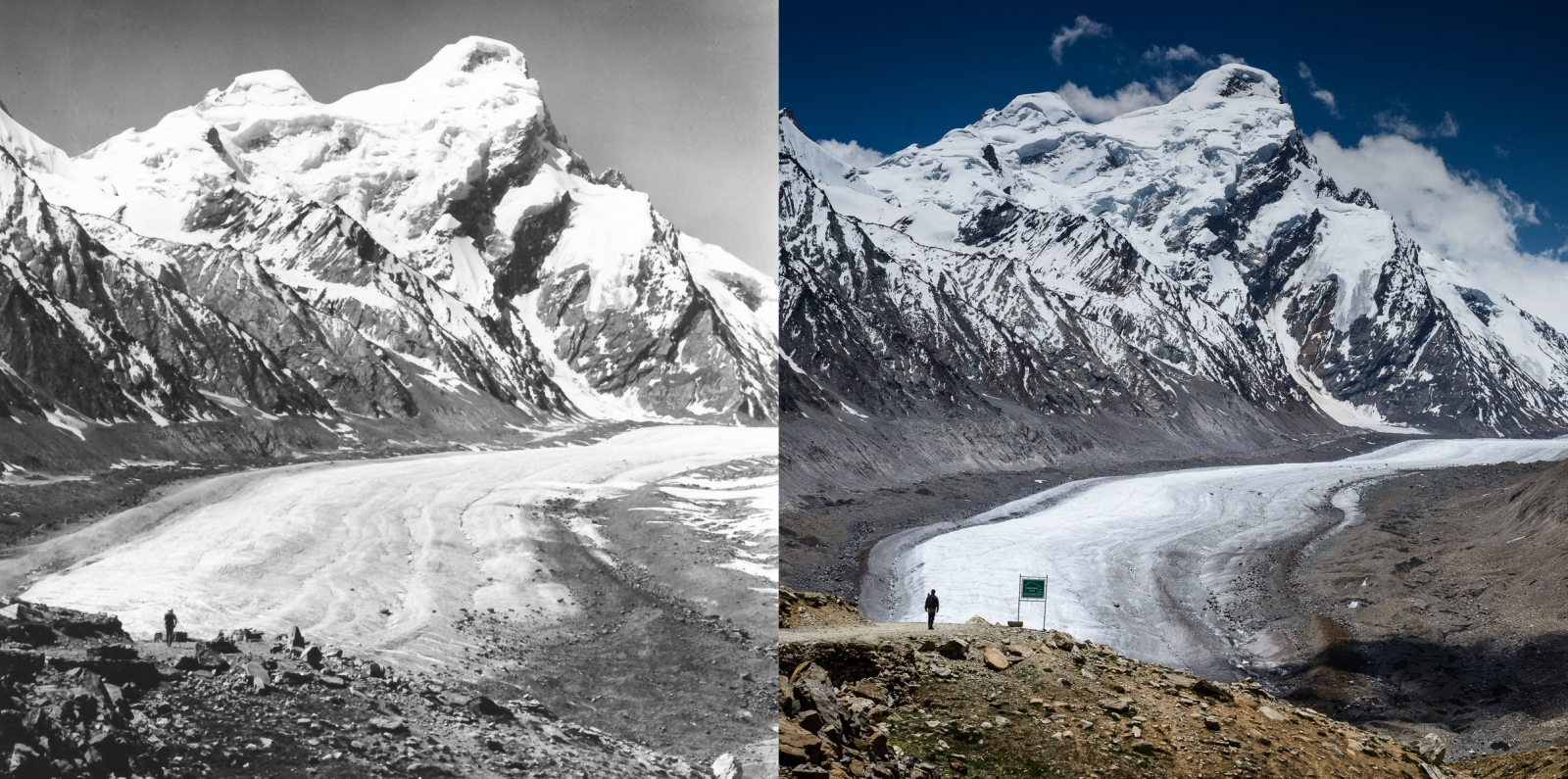 Repeat photography: photo on left taken by German alpinist, Dieter Kirch, in 1980; photo on right taken by Christopher Rubey, 2013.