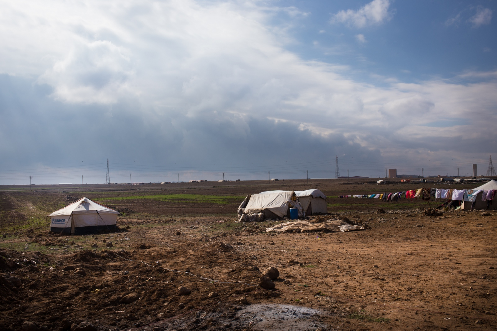 An informal refugee camp is seen in northern Jordan near the Syrian border.