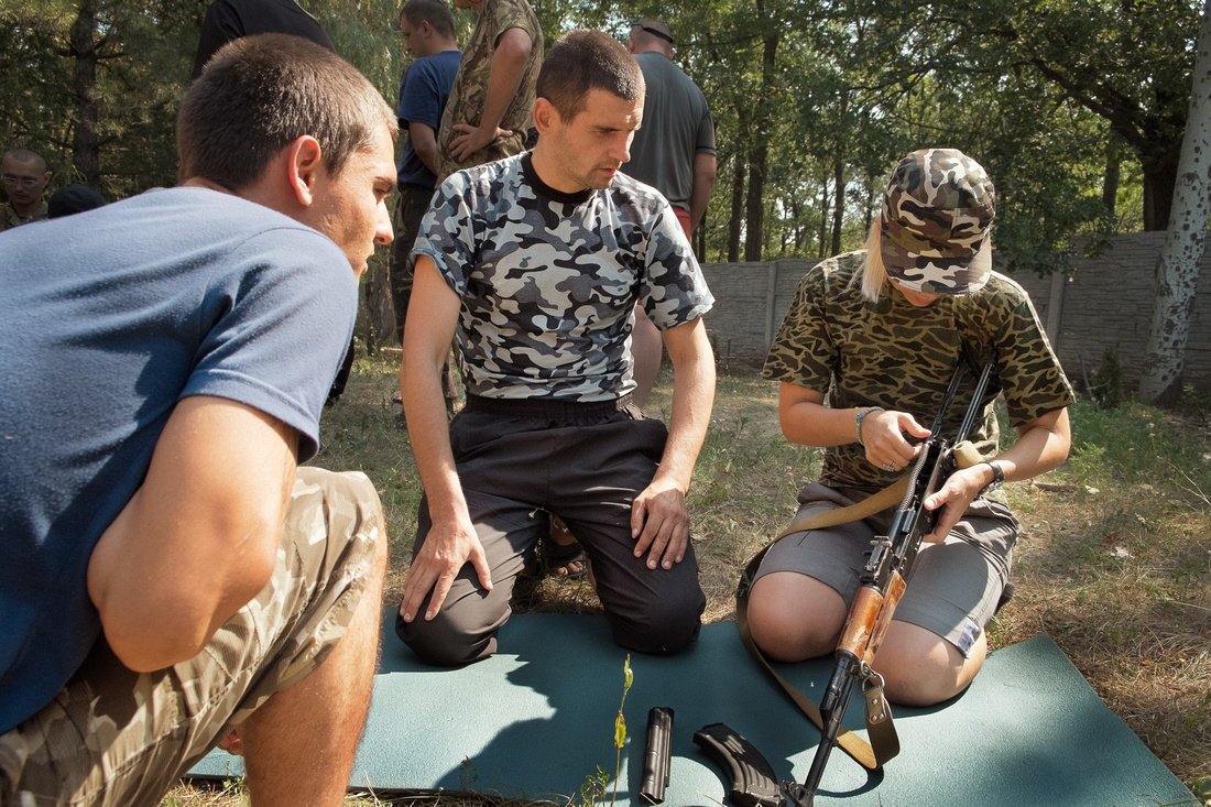 Dontestk Oblast, Ukraine - New volunteers in the pro-Ukraine Batallion Donbass are taught how to asemble an Ak-47.