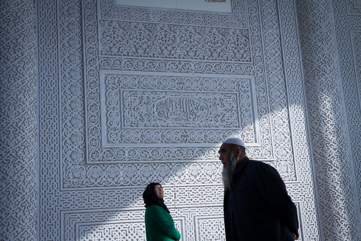 Inside the main gate of the Hui Culture Park, whose design was inspired by India's Taj Mahal, wall carvings with Arabic calligraphy mimic traditional Islamic architectural patterns.