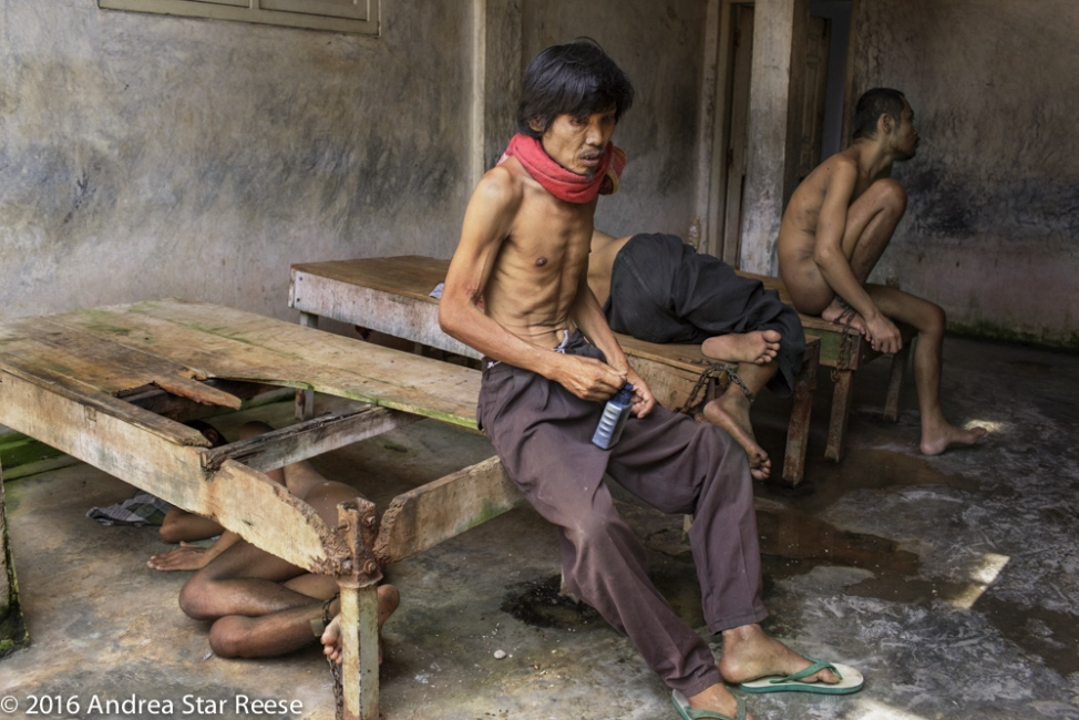 Residents of Syamsul Ma'arif family shelter in Brebes, Central Java are chained to platform beds that are falling apart. The shelter situated behind the Ma 'arif residence is plagued by rats.