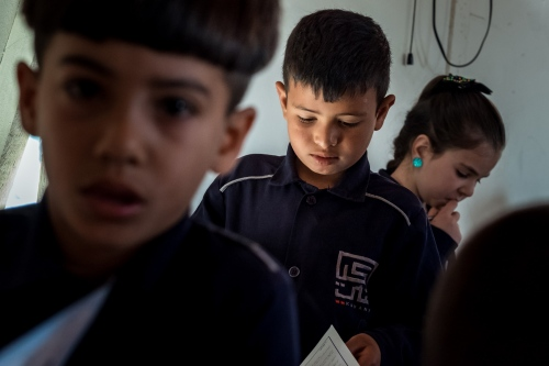 Enrolled Syrian children in a classroom at the Saadnayel School.