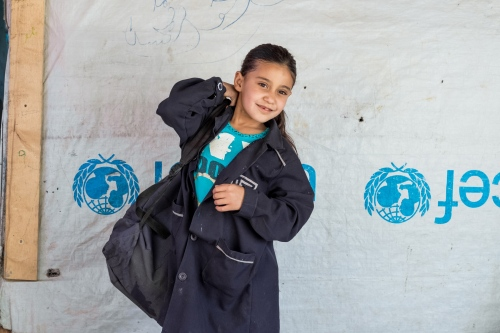 Abrar, 7 years old left her hometown of Homs with her family three years ago. She is a student at the Saadnayel School.