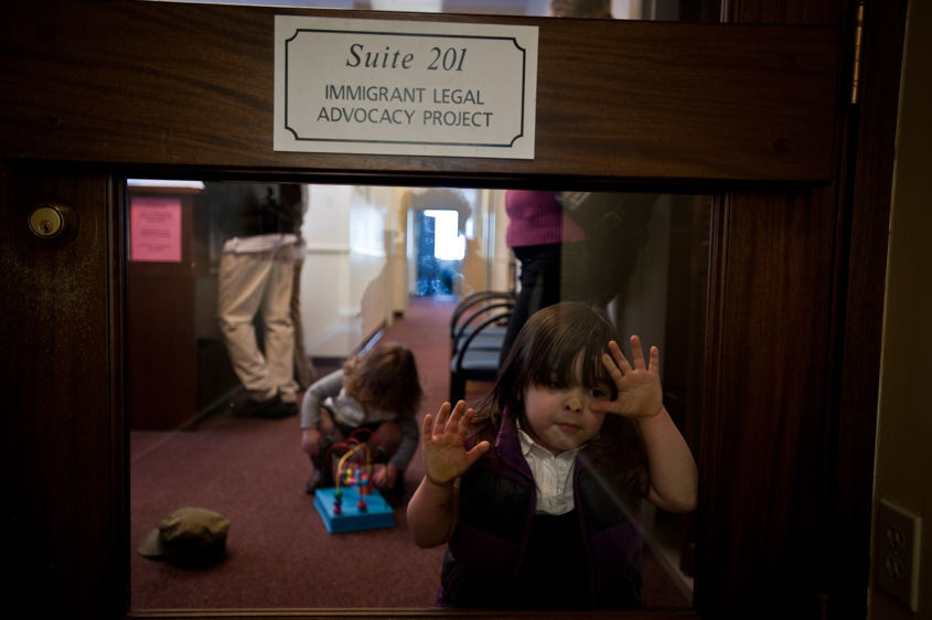 Danika Garcia, 5, waits for her father Fidel at an immigration services meeting in Portland, Maine, on April 15, 2011. A continuance was issued for Fidel's deportation date and the family must wait until June before a decision is made as to the Salvadoran man's status.