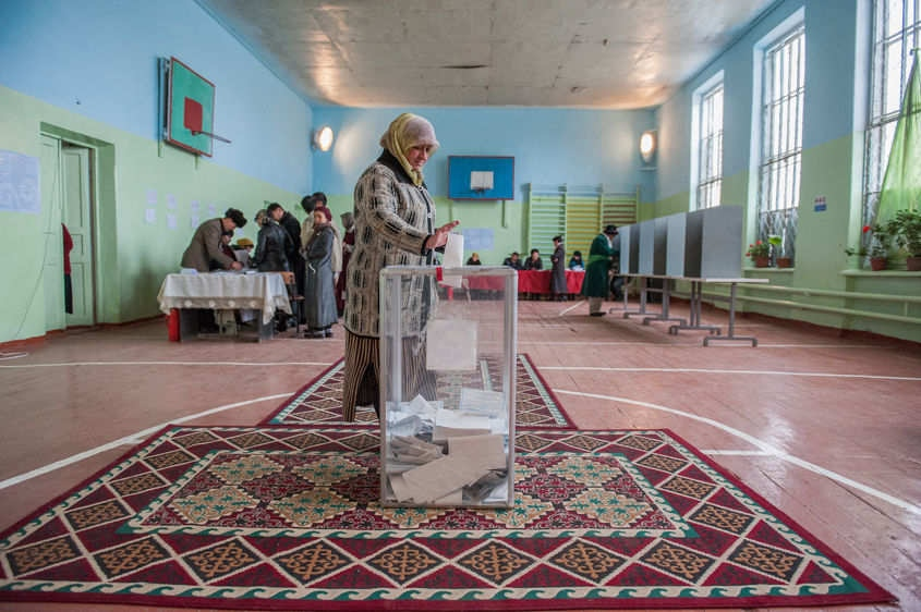 An Uzbek woman votes for President in Osh, Kyrgyzstan on Oct. 30, 2011 during the first elections since the 2010 revolution led to ethnic violence and destruction.