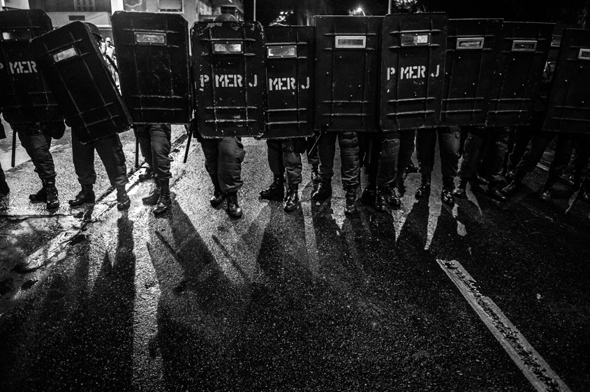 Riot Police form a line to charge protestors at a protest in Rio de Janeiro, Brazil on June 17, 2013.