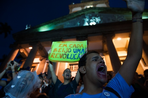 Anti-homophobia protestors gathered in a plaza to protest the Pope's visit to Brazil for World Youth Day in Rio de Janiero, July 22, 2013. Pope Francis will travel to Brazil and participate in World Youth Day events from July 22-28.