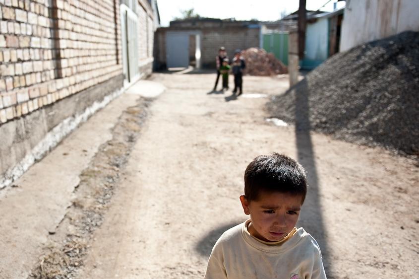 An Uzbek boy and friends in the mahalla of Jidalik Nariman in Osh, Kyrgyzstan in November 2011.