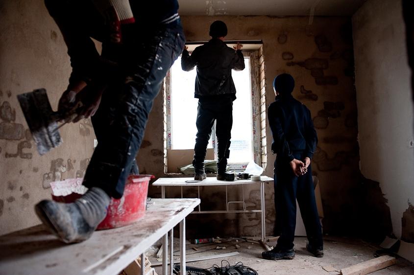 Rebuilding in Jalalabad, Kyrgyzstan. December, 2011.