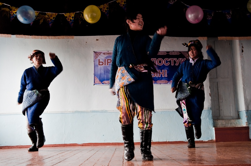 Uzbek students doing a traditional dance at an ethnically mixed school outside of Osh, Kyrgyzstan. December, 2011.