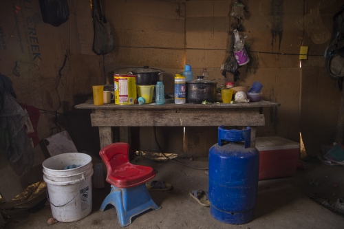 Kitchen area at the Moreno family residence in the rural town of Santa Maria de los Pinos.