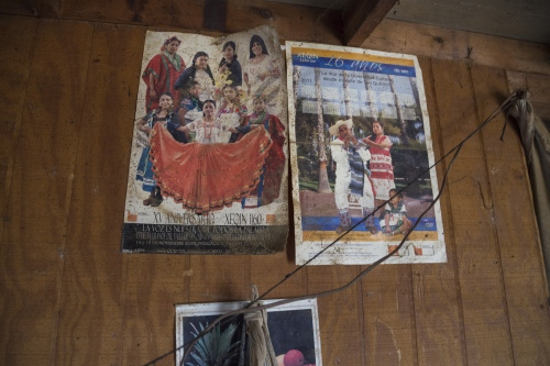 Wall decoration posters at Francisca Ramirez's home in San Quintin. Many indigenous farmworkers in San Quintin are originally from southern poor states such as Oaxaca and Guerrero.