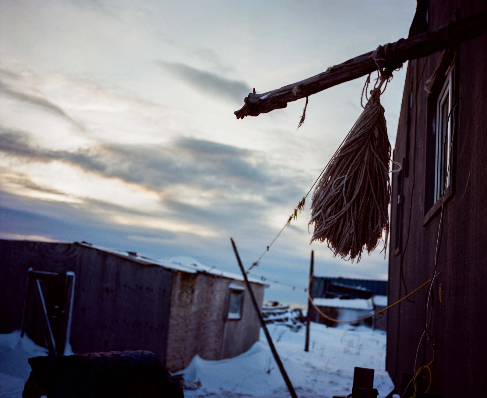 Clothesline outside of Lucy Adams' home in Kivalina, Alaska.