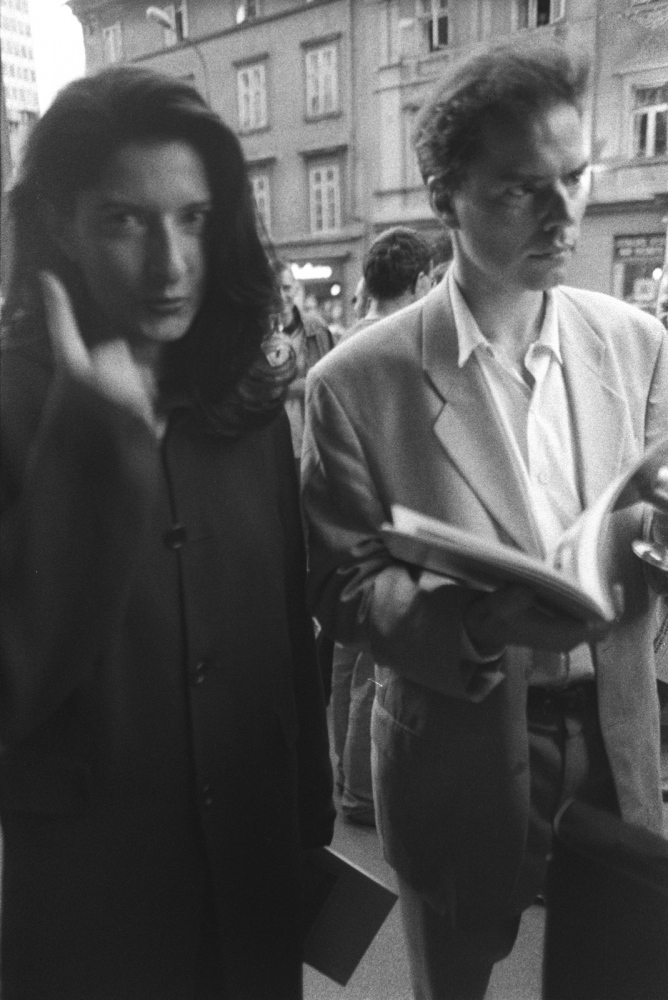 Marina Abramowic, Visual Artist, Ljubljana, Slovenia 1989. Now world famous, at the time she was well known in Eastern Europe, having a small, exhibition at Mala Galerija in Ljubljana, Slovenia.
