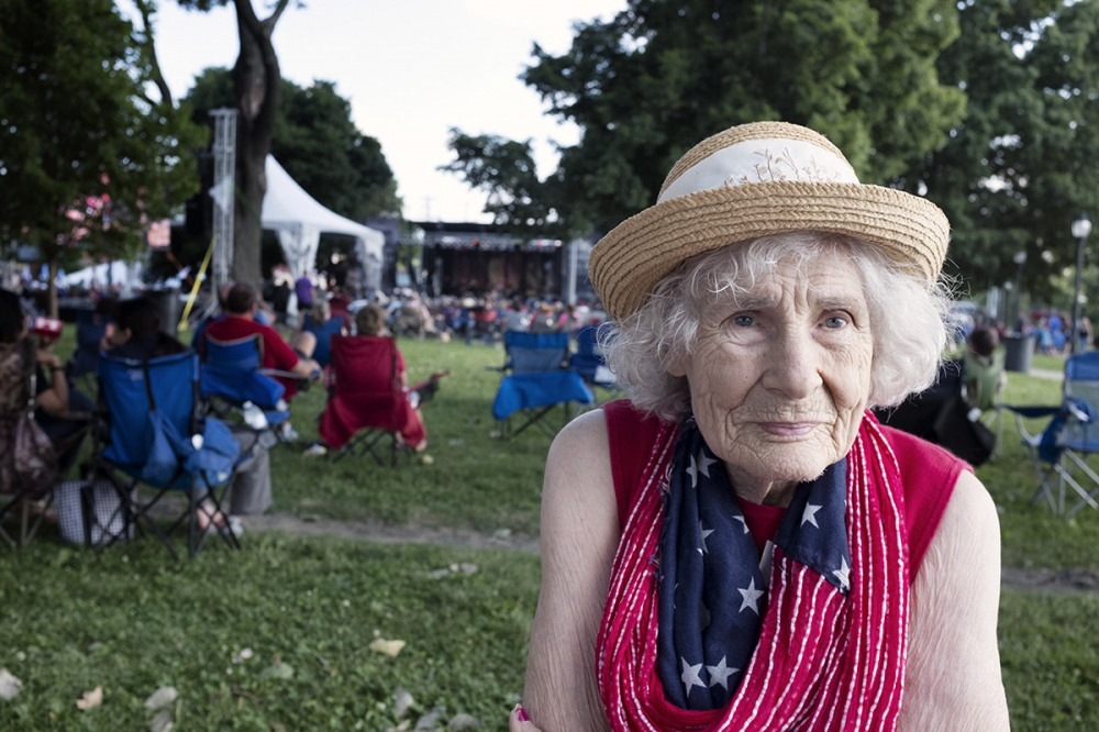 Photography image - Fladge Hagen, 93, enjoys some Blues music at the W.C. Handy Blues & Barbecue Festival in Henderson, Kentucky. Ms. Hagen enjoys live music more than ever because, due to ongoing hearing loss, it's so loud she can still hear it quite well.