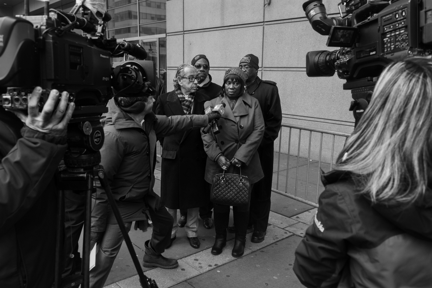 Margaret Burton, the mother of Jahmal Lighfoot, a former member of the Bloods, who was brutally beaten up by Correctional Officers in 2012, is interviewed outside the Bronx Criminal Court on February 17. Her son suffered several injuries and had his nose and eyes sockets broken after the security chief at the time, Eliseo Perez, ordered correctional officers to assault him. He and five other CO's were convicted on June 6th of the same year. February 17th, 2016