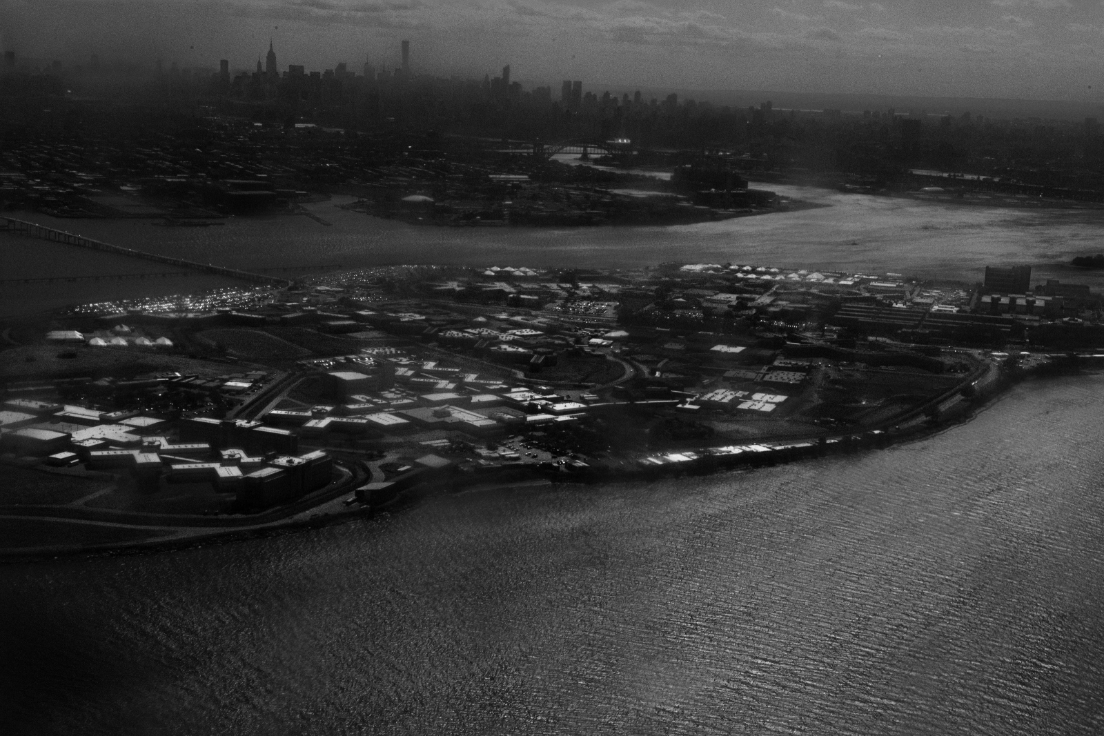 Rikers Island as seen from a plane that departed from La Guardia Airport. A clear view of the island is hard to get from anywhere in the city but thousands of people who land and depart each day from La Guardia get a clear overview of it many times without knowing what the island is. June 9th, 2016.