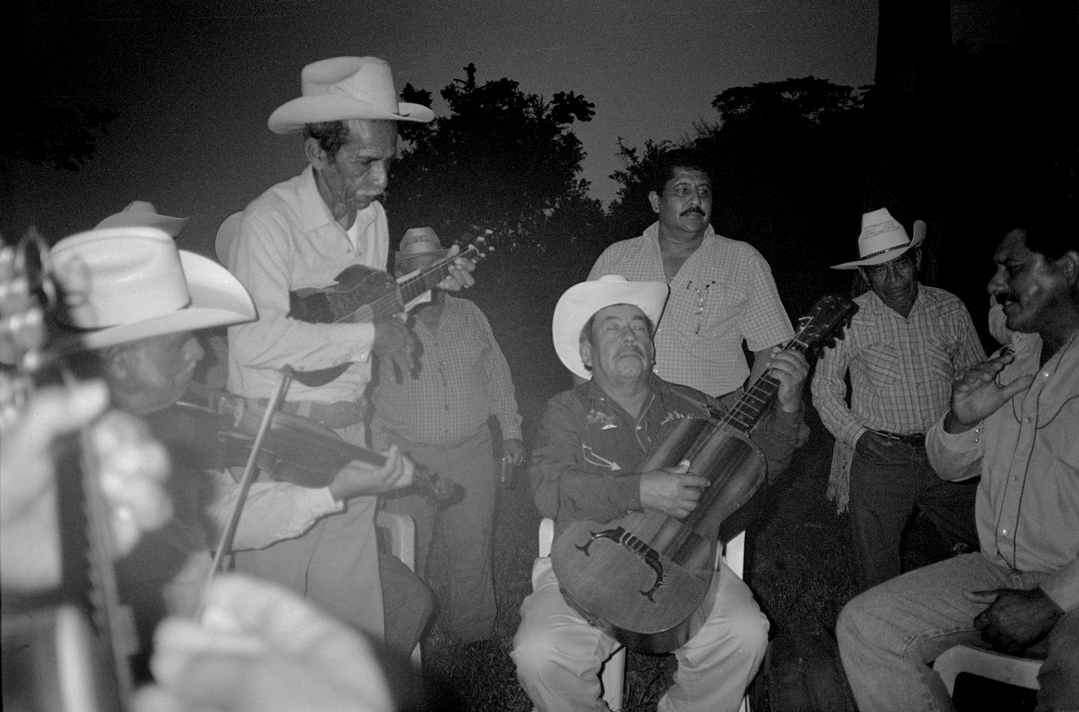 At Leo's seventieth birthday, Huapango musicians came from neighboring municipalities to serenade him. They played late inot the night, getting drunker and drunker and drunker, Rancho Tamyan, Ozuluama, Ver 2010 ©Sylvia de Swaan