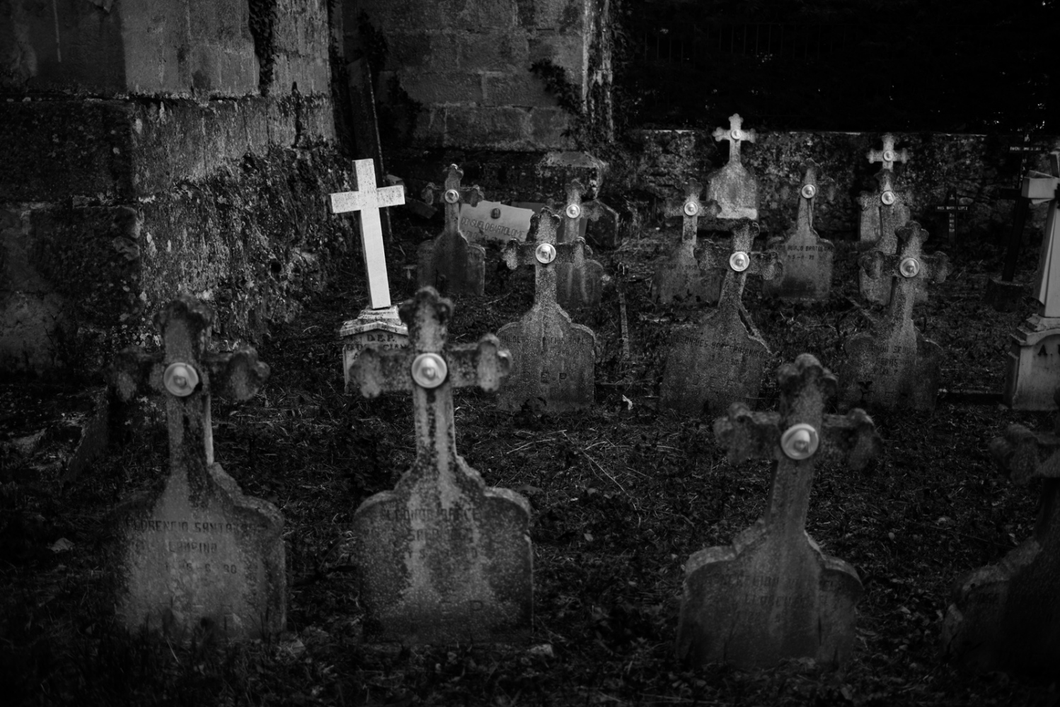 Cemeteries are representative of low population density in villages.-Tombs at Oña's abbey.