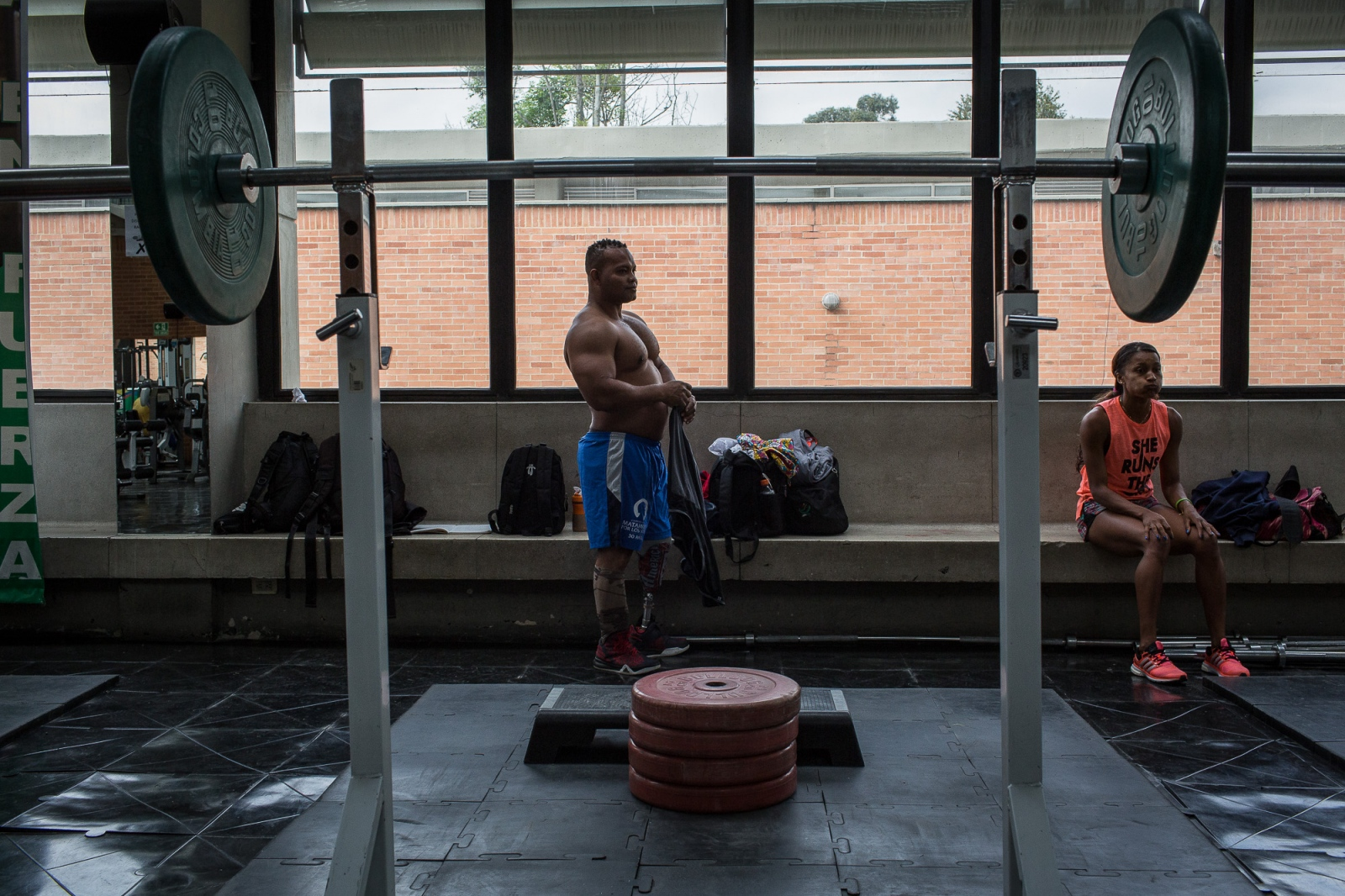 Fabio Torres, 39, before a training session of powerlifting in High Performance Center, Bogotá, 7th June, 2016.