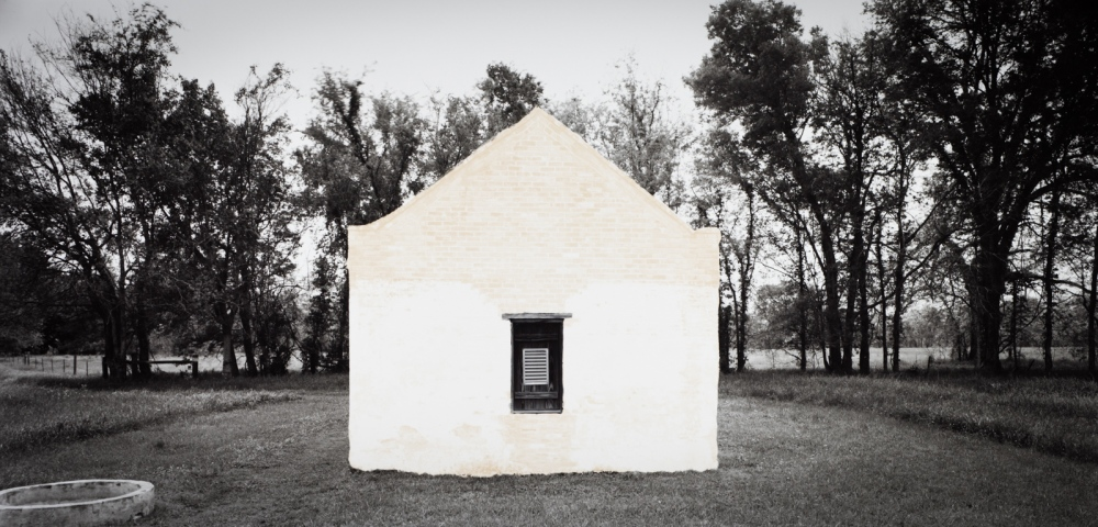 "Slave Dwelling, Louisiana silver gelatin contact print from 8x16"" film negative, transformed with bleach to express the ephemeral nature of these fragile structures"