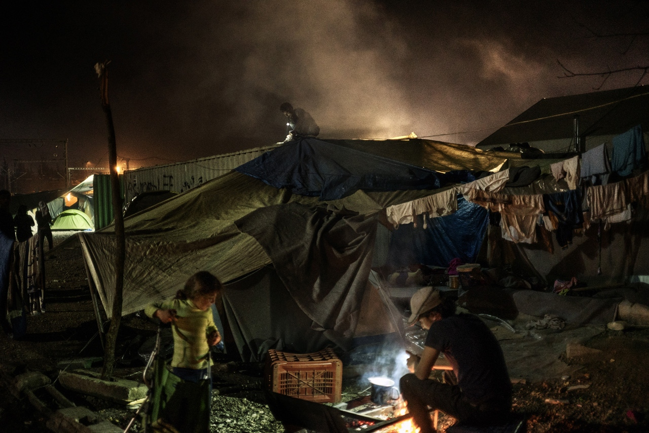 Night view of the older railway station of Idomeni turned into a refugee camp.