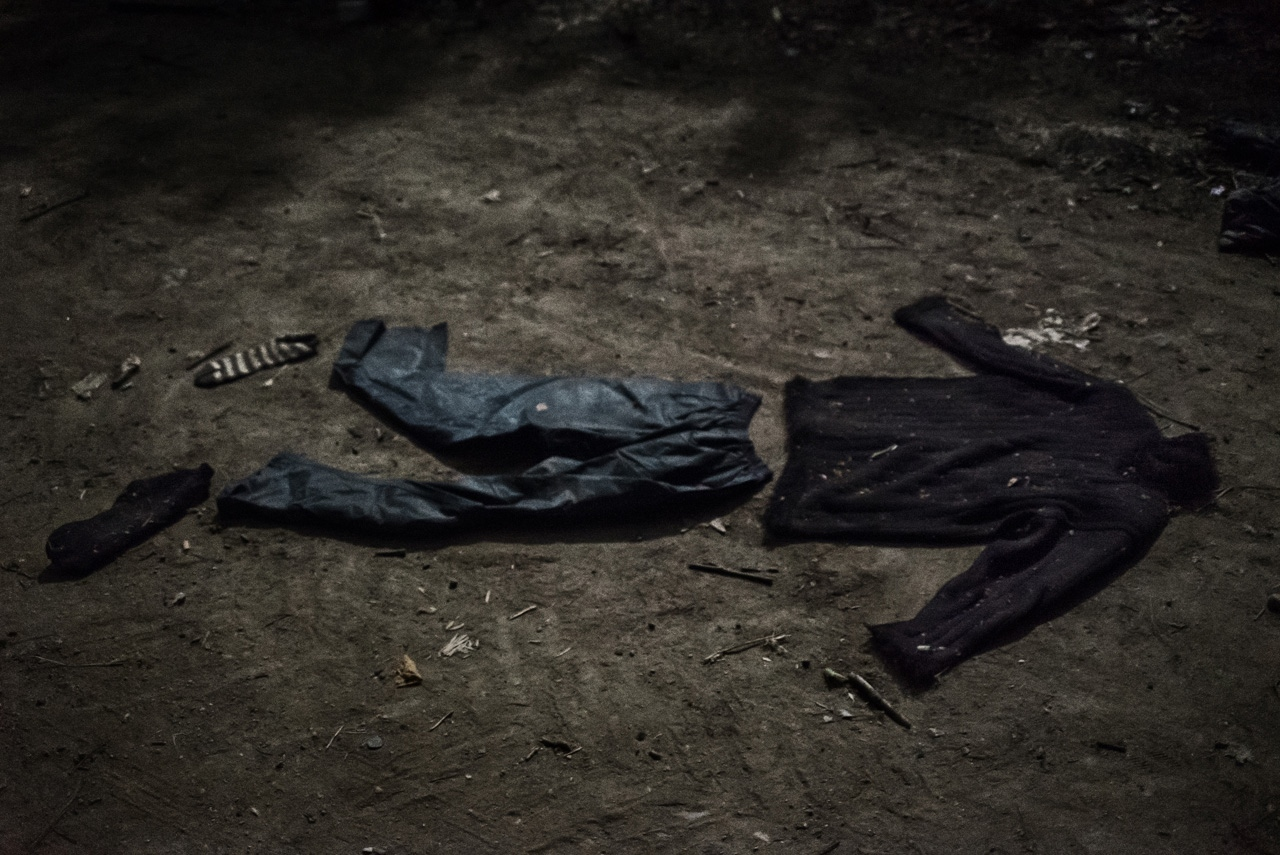 Clothes left by refugees on the illegal route to cross the border between Greece and FYROM