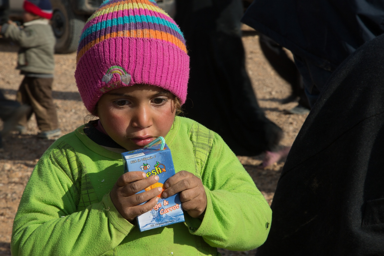 The majority of the refugees coming across the Syrian border into Jordan are children.