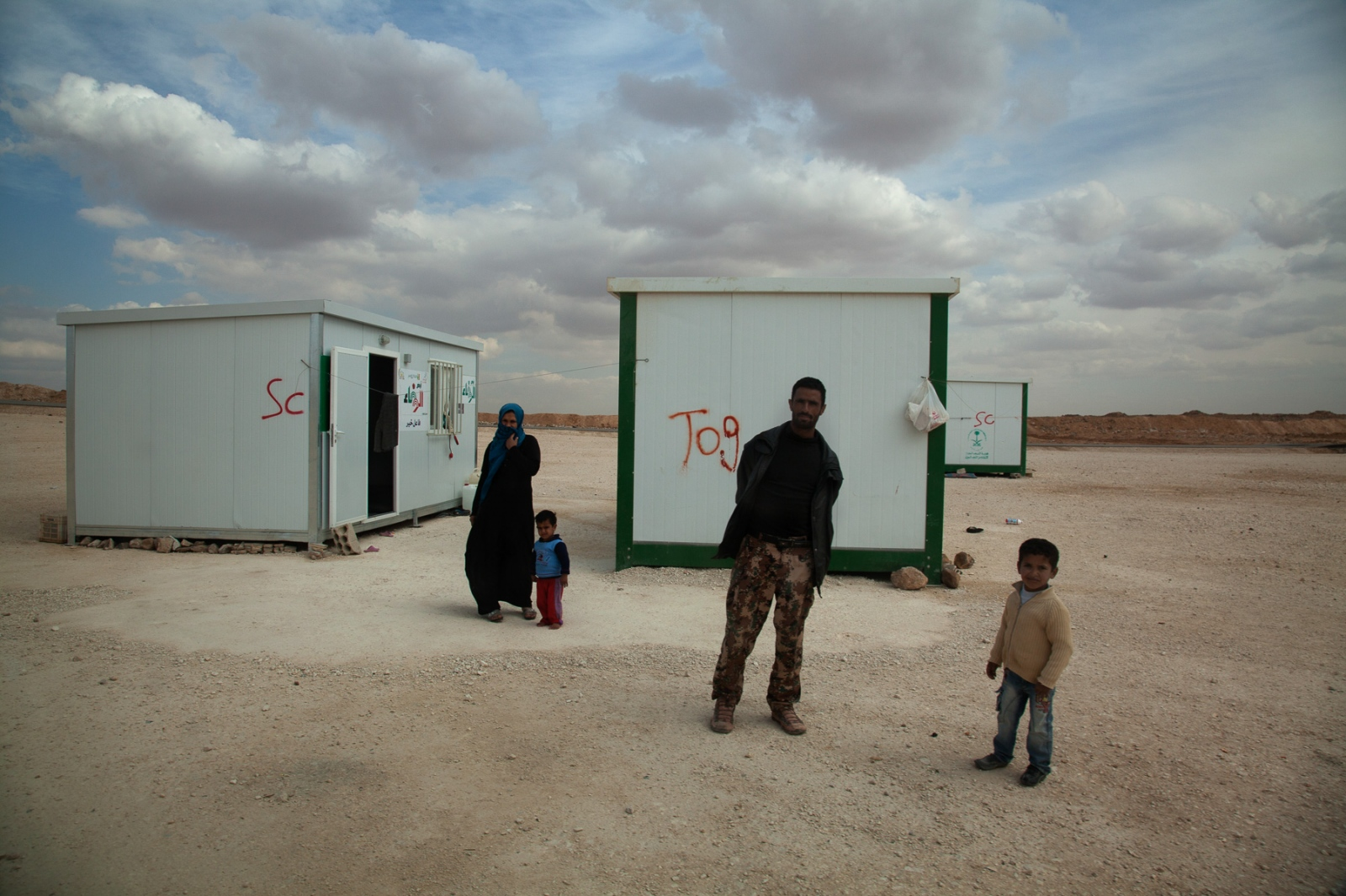 At Zaatari Refugee Camp many refugees live in small metal containers.