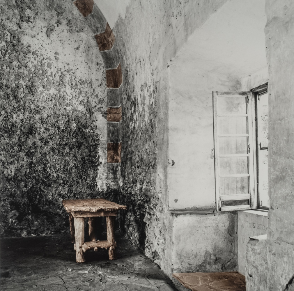 "Mission Interior 26x26"" silver gelatin photograph selectively hand-toned with sepia"