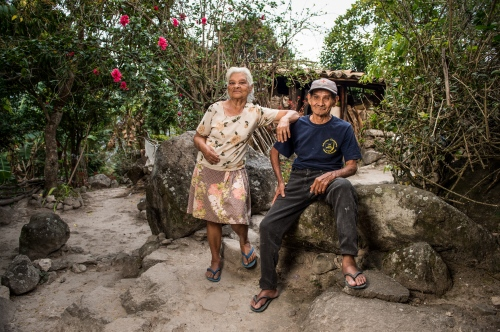 Don Celedonio, right and his wife, left, stand at their home after he recieved eye surgery to repair cataracts he suffered from for two years March 7, 2016. The staff at CAMO, (Central American Medical Outreach), helps out with the community in and around Santa Rosa de Copan, Honduras. Whether it's people right in town or from as far away as 10-12 hours. People travel by car, hitchhiking, horse, bus, or walk to receive these benefits. Photo Ken Cedeño