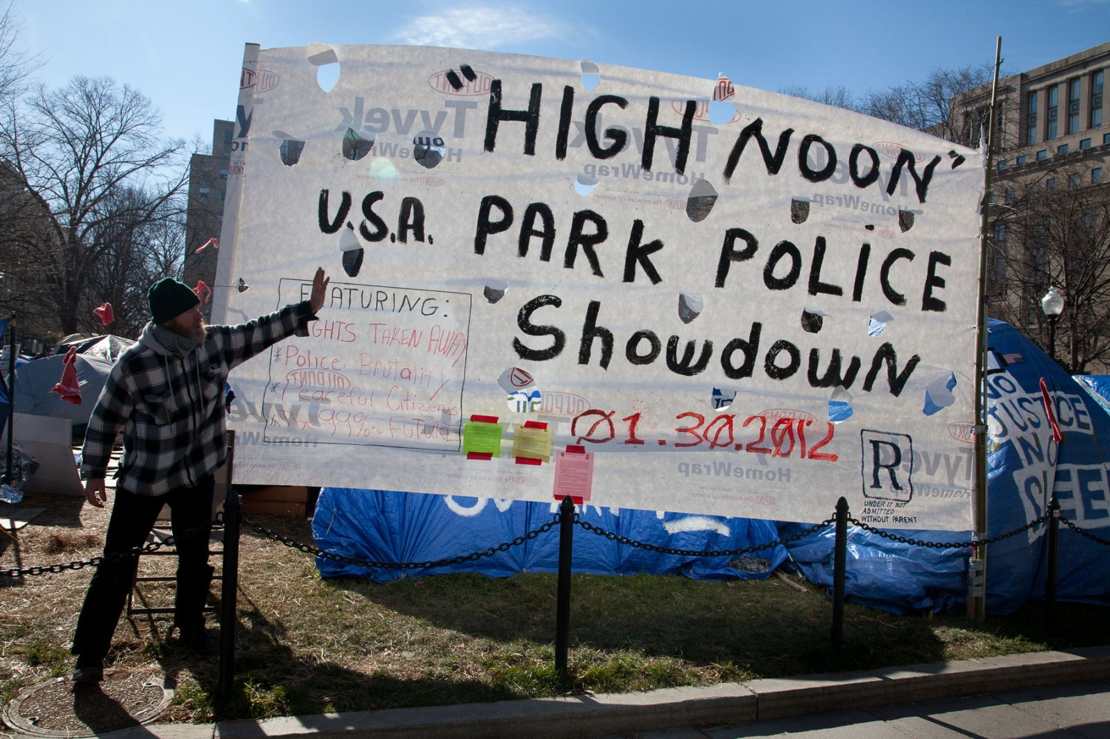 Occupy D.C. expected a confrontation with U.S. Park Police after a Monday deadline passed where protestors were supposed to remove bedding material from their tents.