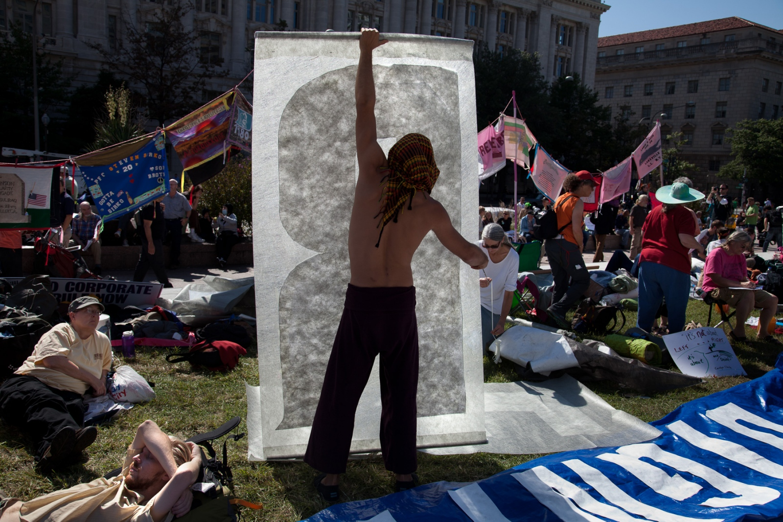 On the first day of Occupy DC protestors prepare to stay for the long haul.