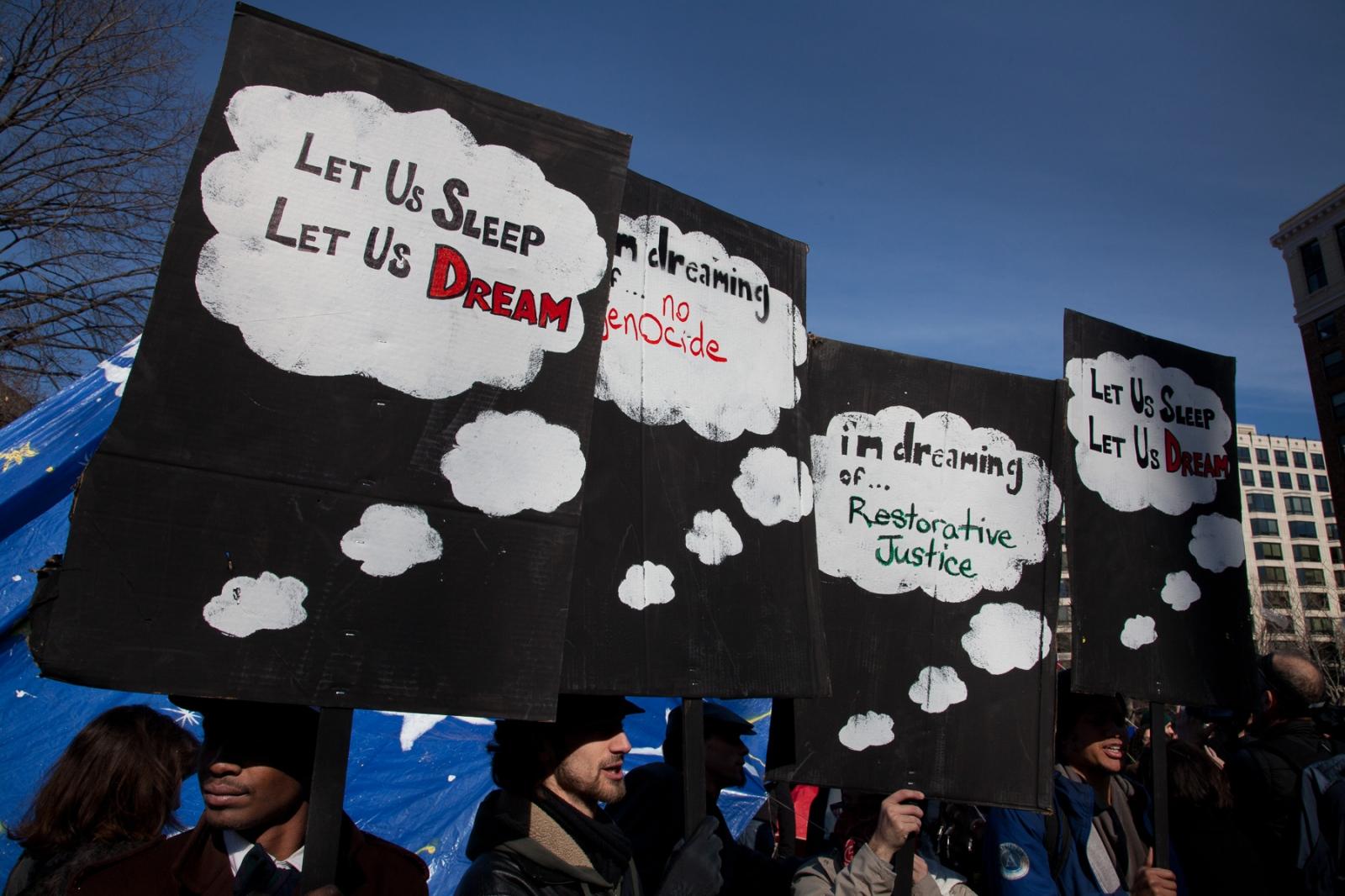 "Protestors keep vigil outside of the ""Tent of Dreams"" at McPherson park."