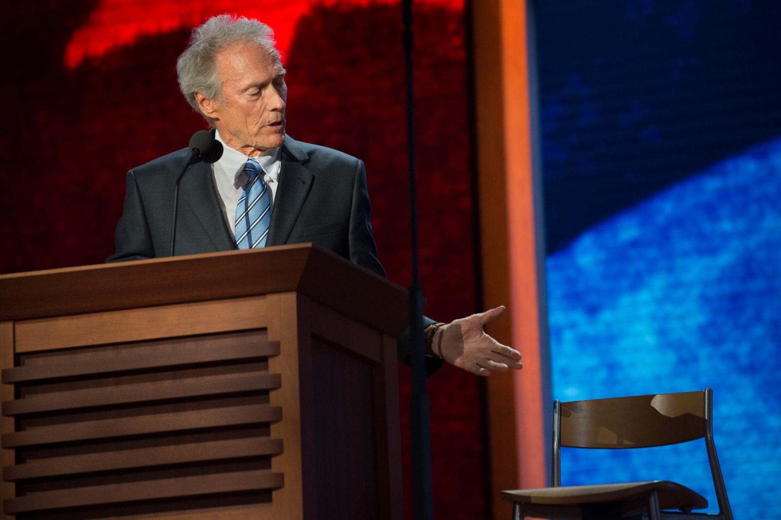 Actor Clint Eastwood talks to an empty chair during the 2012 Republican National Convention.