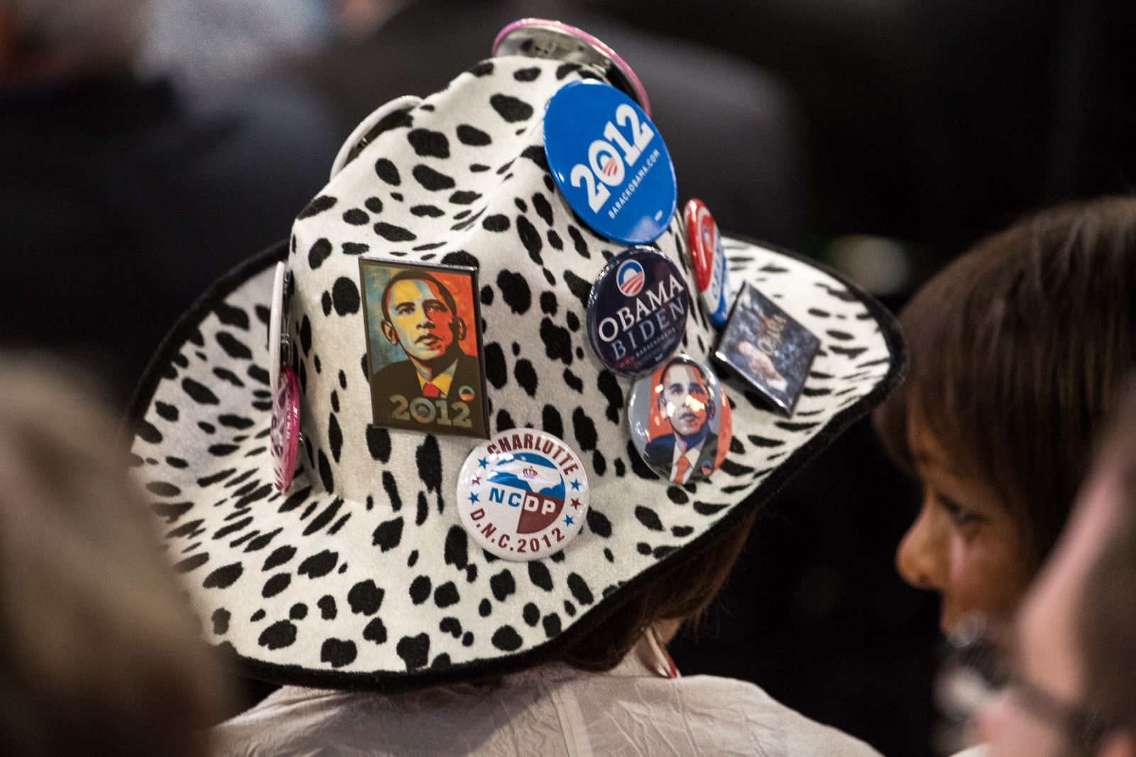 Delegate Gloria Goodwin's hat decorated with buttons at the 2012 Democratic National Convention.