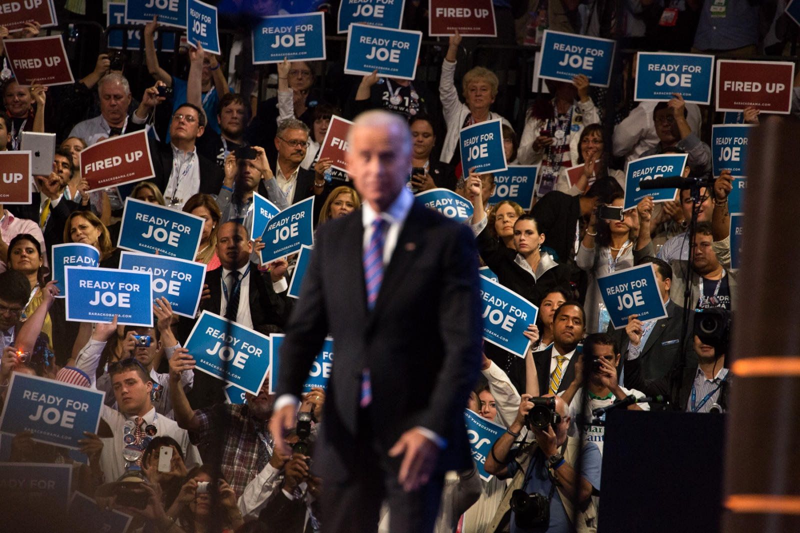 Vice President Joe Biden prepares to addresse the audience at the Democratic National Convention.