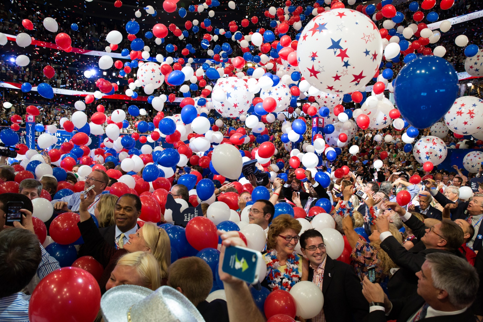 During the 2012 Republican National Convention balloons engulf the delegates after the nomination of Mitt Romney.