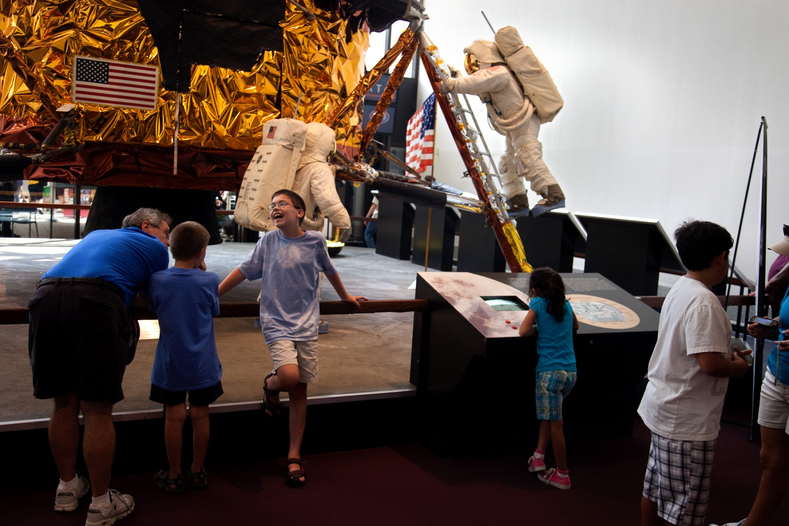 At the National Air and Space Museum tourist view a mock-up of the moon landing by Apollo 11 that happened 40 years ago.