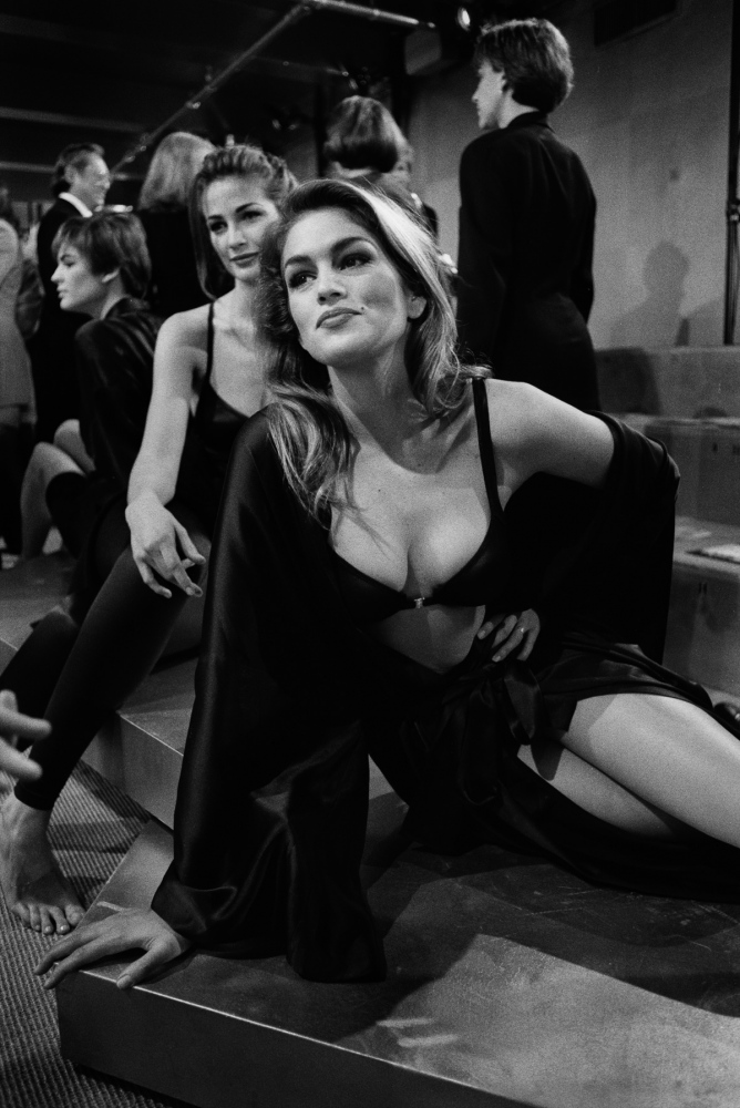 Cindy Crawford was a fashion show regular until she became a talk show host, cosmetics spokesperson, advertising pitchwoman, and aspiring actress. Now, she rarely makes a runway appearance. Donna Karan, '92.