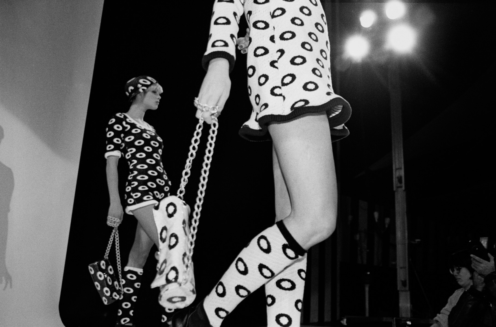 For the show, no detail is left to chance. But often the most fanciful items on the runway, such as the little skullcap and knee socks, are never manufactured for stores. Betsey Johnson, '90.