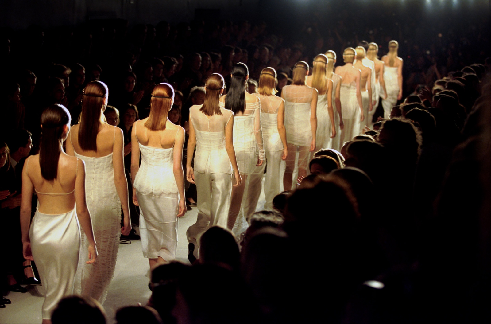 Designers often strive for homogeneity in their models to make a dramatic point. Donna Karan, fall '97.