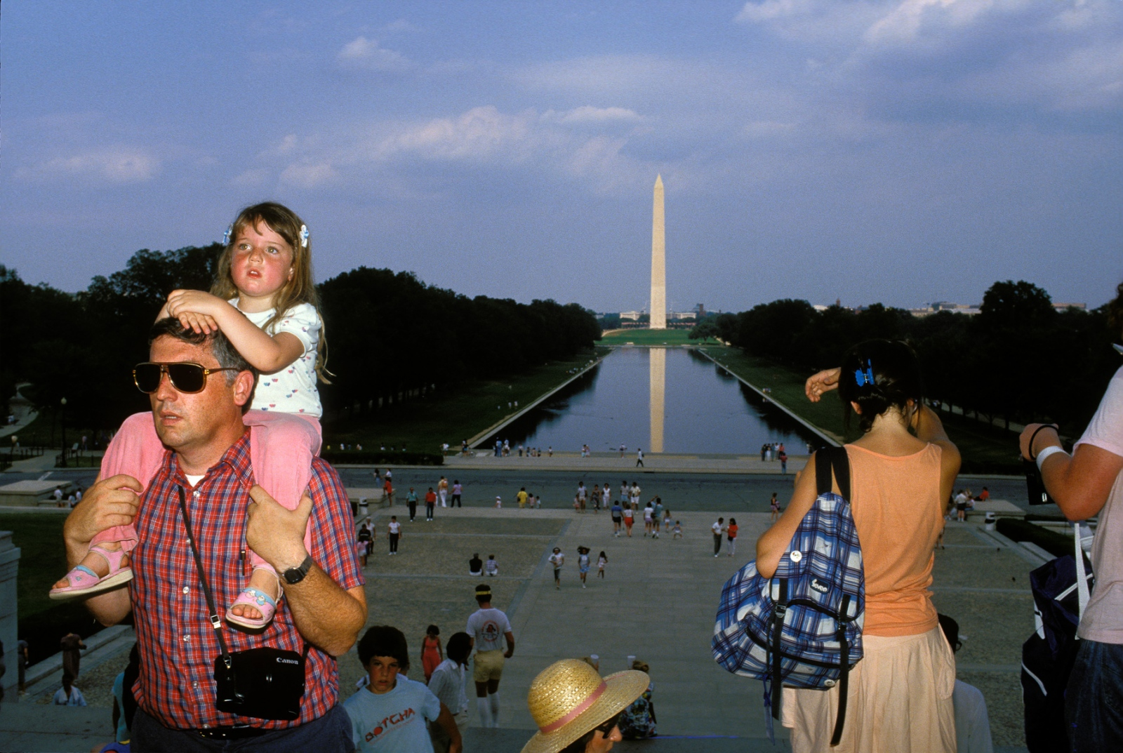The Washington Monument as it currently exists is actually a massive failure in comparison to the ambitious original design, which had called for a series of columns and statues of George Washington and 30 other figures from the Revolutionary War. Only the tower itself, composed of Maryland marble, was completed due to budgetary reasons.