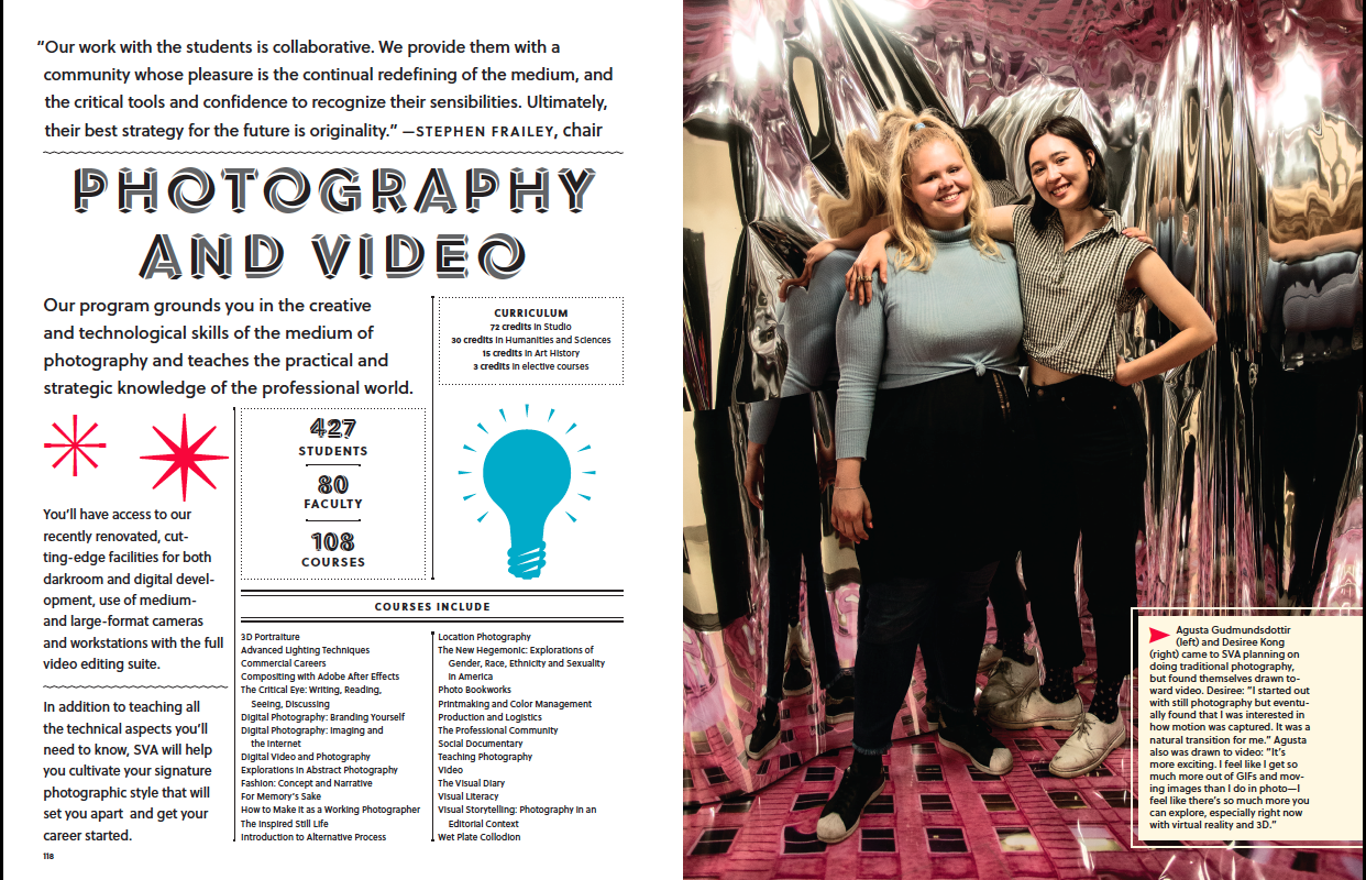 Dgital Tear Sheet from 2016-2017 School of Visual Arts Viewbook. The Viewbook is SVA's Undergraduate Catalog, Principal Photographer: Antonio Pulgarin.