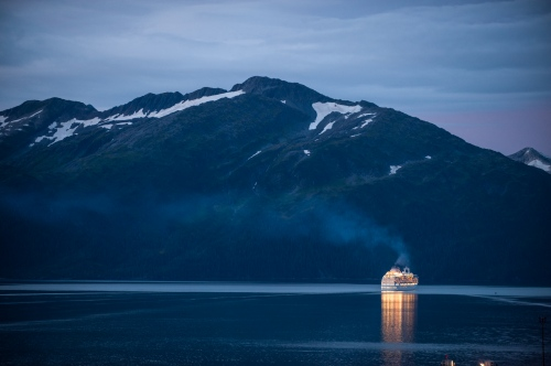 A cruise ship leaves the port out of Whittier, Alaska in Prince Williams Sound August 24, 2009. Photo Ken Cedeno