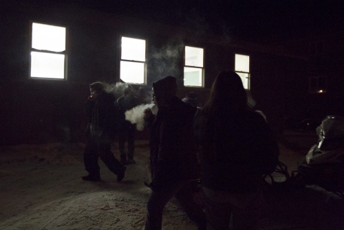 During a break from bingo, players go outside to smoke and regroup.