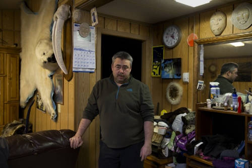 Dennis Sinnok was born in Anchorage, Alaska, and moved to Shishmaref when he was a child. He has lived in Shishmaref ever since. He is an accomplished bear, wolf, seal and walrus hunter.