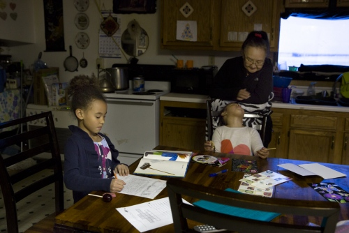 Mary Kiyutellukinguk was born in Nome, Alaska. She has lived all of her life in Shishmaref and takes care of her granddaughters Kiyeivi, 7, and Kalaya, 3, after school while their mother is at work.