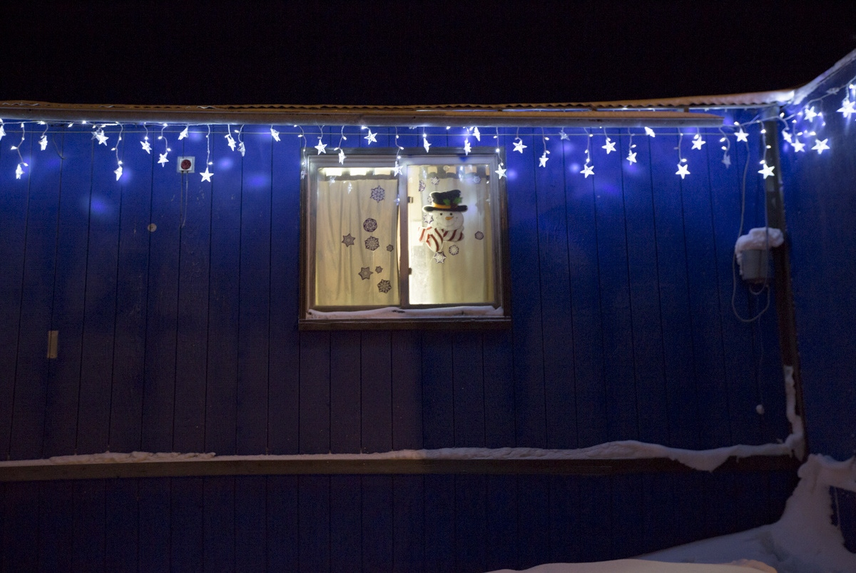 Many homes in Shishmaref are decorated with Christmas lights and decorations during the Christmas season. Although most residents are members of the Lutheran Church, they also observe their native Eskimo spiritual practices.