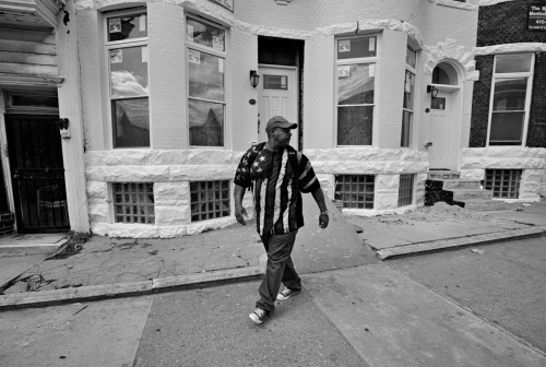 Baltimore, MD- A resident on his way to work.